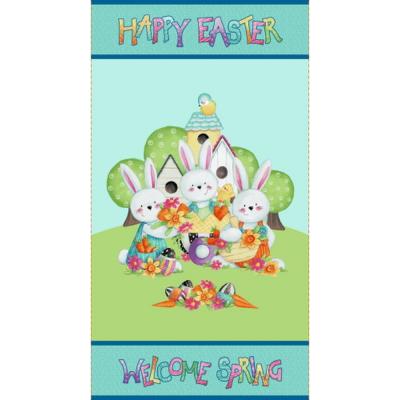 Easter Fun | Happy Easter Panel - Aqua | Henry Glass