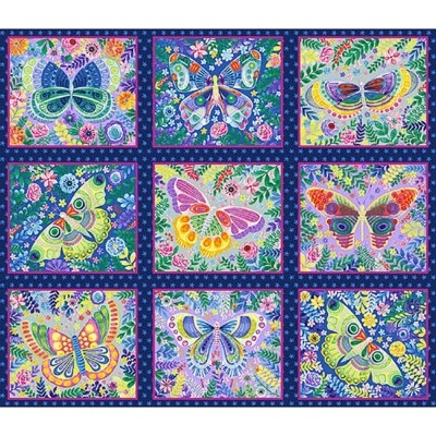 Panel :: Butterfly Blocks   Navy :: Wonderland   Blank Quilting