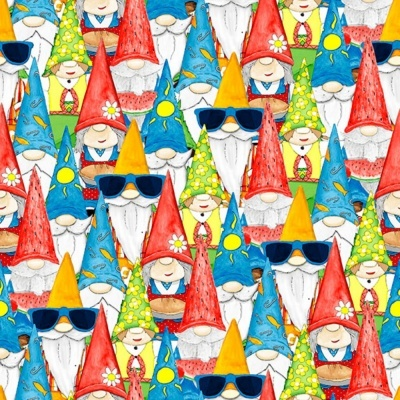 Hangin With My Gnomies | Gnome Collage - Light Blue | Blank Quilting