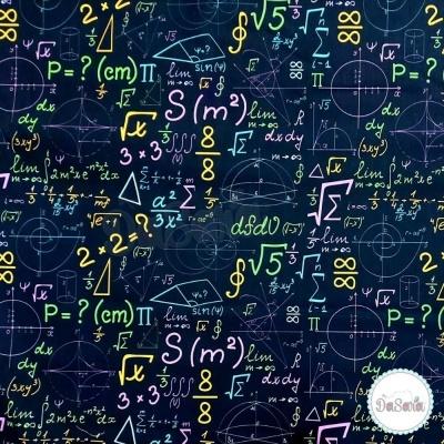 Fat Quarter - I Love Maths | Black