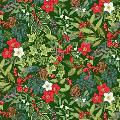 Yuletide | Foliage - Green | Makower UK