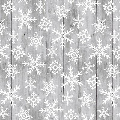 Snow Place Like Home   Tossed Snowflakes on Wood Gray   Studio e Fabrics
