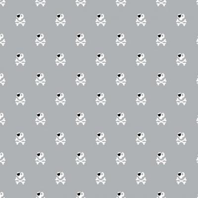 Pirates   Skulls   Grey   Poppy Fabrics