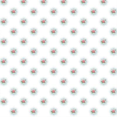 Roses | Shabby Flowers Frame | White | Poppy Fabrics