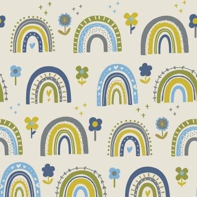 FLOWER RAINBOW :: BLUE | OVER THE RAINBOW | FABRICART