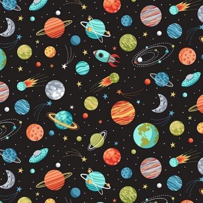 Fat Quarter :: Outer Space | Planets - Black | Makower UK