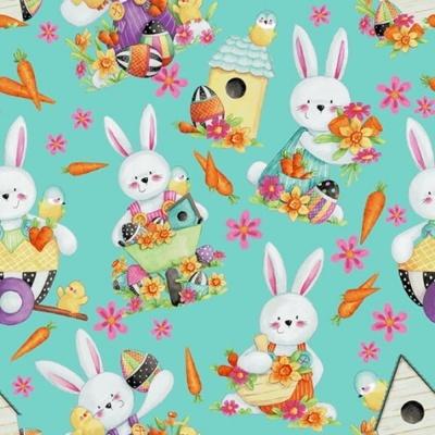 Easter Fun | Bunny Toss - Aqua | Henry Glass