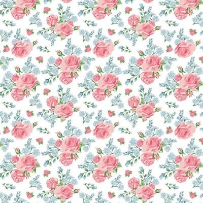 Roses | Shabby Flowers | White | Poppy Fabrics