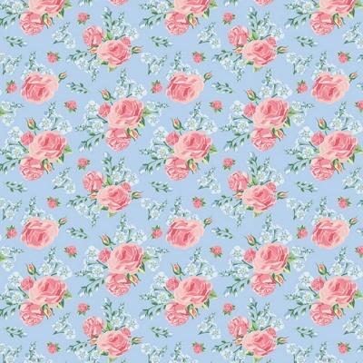 Roses | Shabby Flowers | Blue | Poppy Fabrics