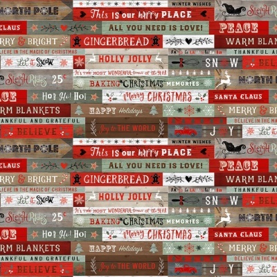 Christmas Memories   Words on Wood Grain Red/Teal   Studio e Fabrics
