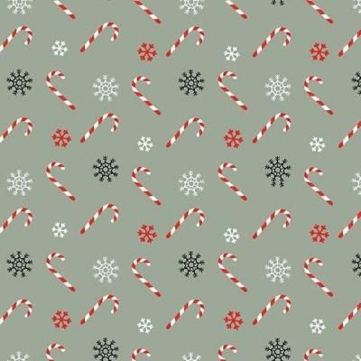 Christmas Memories   Tossed Candy Canes - Teal   Studio e Fabrics