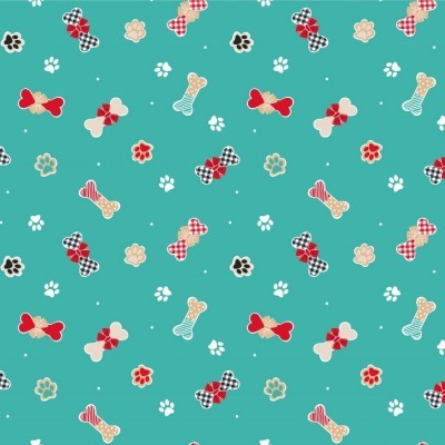 CHRISTMAS DOG BISCUITS | TEAL :: FREDDIE & FRIENDS | CRAFT COTTON COMPANY