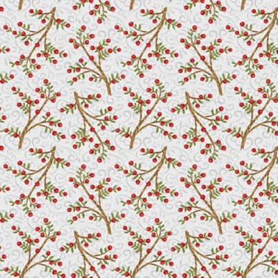 Snow Place Like Home | Tossed Berry Branches - Gray | Studio e Fabrics