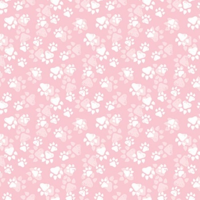 Fancy Cats | Paw Print :: Pink  | StudioE Fabrics
