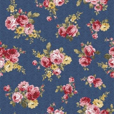Exuberance | Floral Arabesque :: Azul Noite | Fabricart