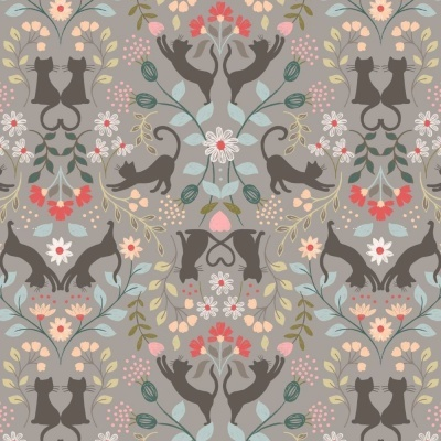 LOVE CATS | MID GREY :: PURRFECT PETALS | LEWIS and IRENE