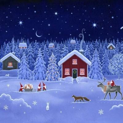 SNOWY DOUBLE EDGE BORDER :: DIGITAL PRINT | LEWIS&IRENE