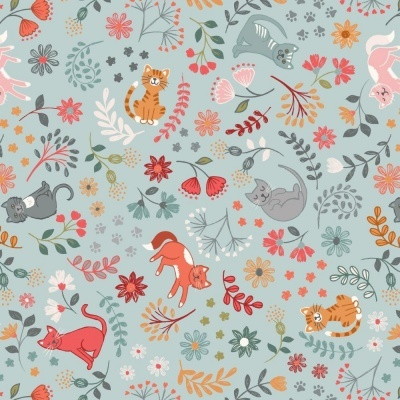 FLORAL CATS   LIGHT BLUE :: PURRFECT PETALS   LEWIS and IRENE