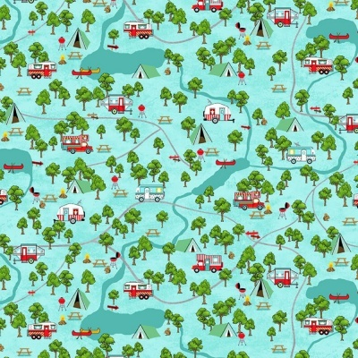 Roamin' Holiday | Campsite Map - Light Blue | Studio e Fabrics