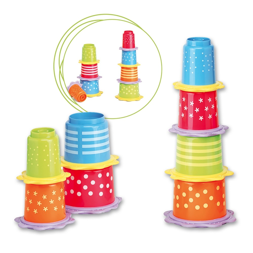 Copos empilháveis com mordedor Saro Stackable Cups with Teething Ring