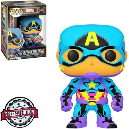 Funko POP! Marvel Black Light Captain America #648 Special Edition