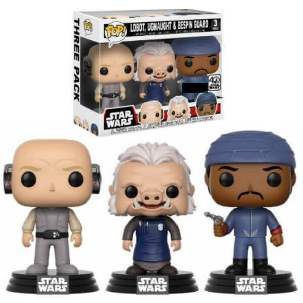 Funko! Pop Star Wars Lobot, Ugnaught & Bespin Guard 3 Pack Exclusive