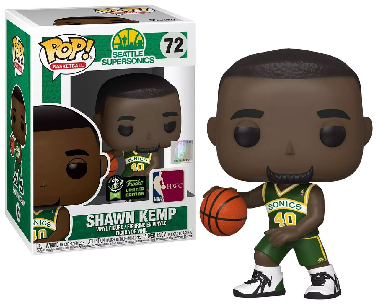 Funko! Pop Sports NBA Seattle Supersonics Shawn Kemp #72 Exclusive