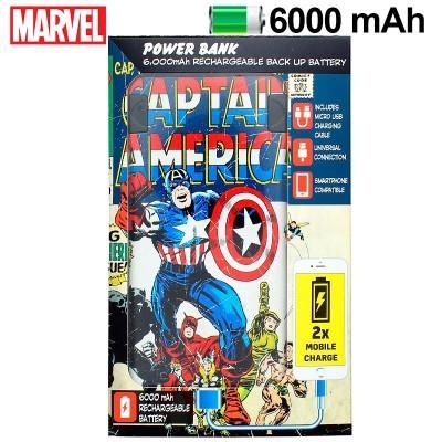 Power Bank Micro-usb 6000 mAh Marvel Capitão América