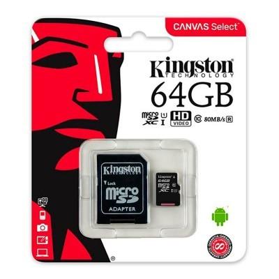 Cartão de memória Micro SD com adaptador 64 GB Kingston