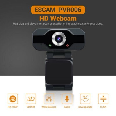 Webcam ESCAM PVR006 1080p Microfone USB