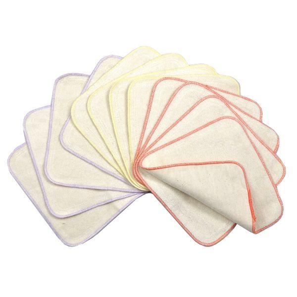 Toalhetes de limpeza reutilizáveis de algodão terry e Flanela Avo&Cado (12unds.)