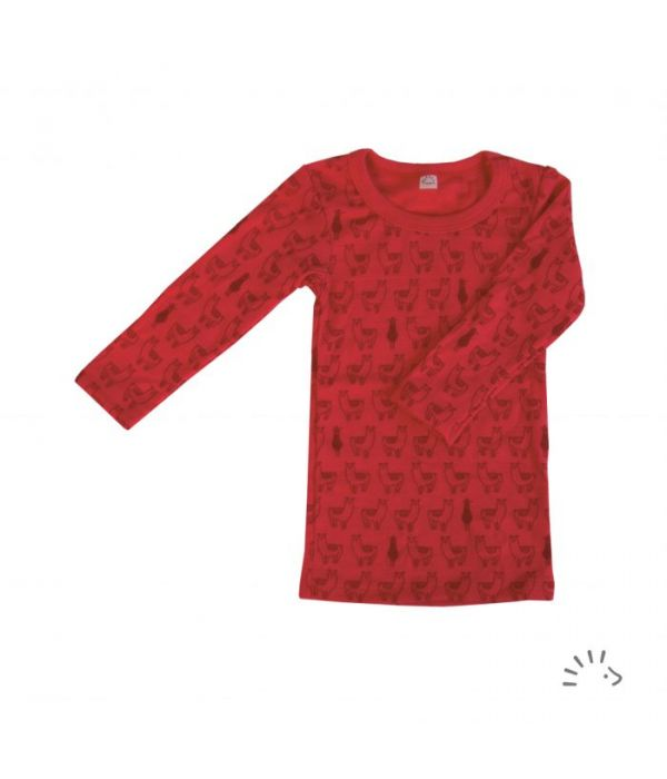 Camisola térmica lã orgânica Lamas Vermelha