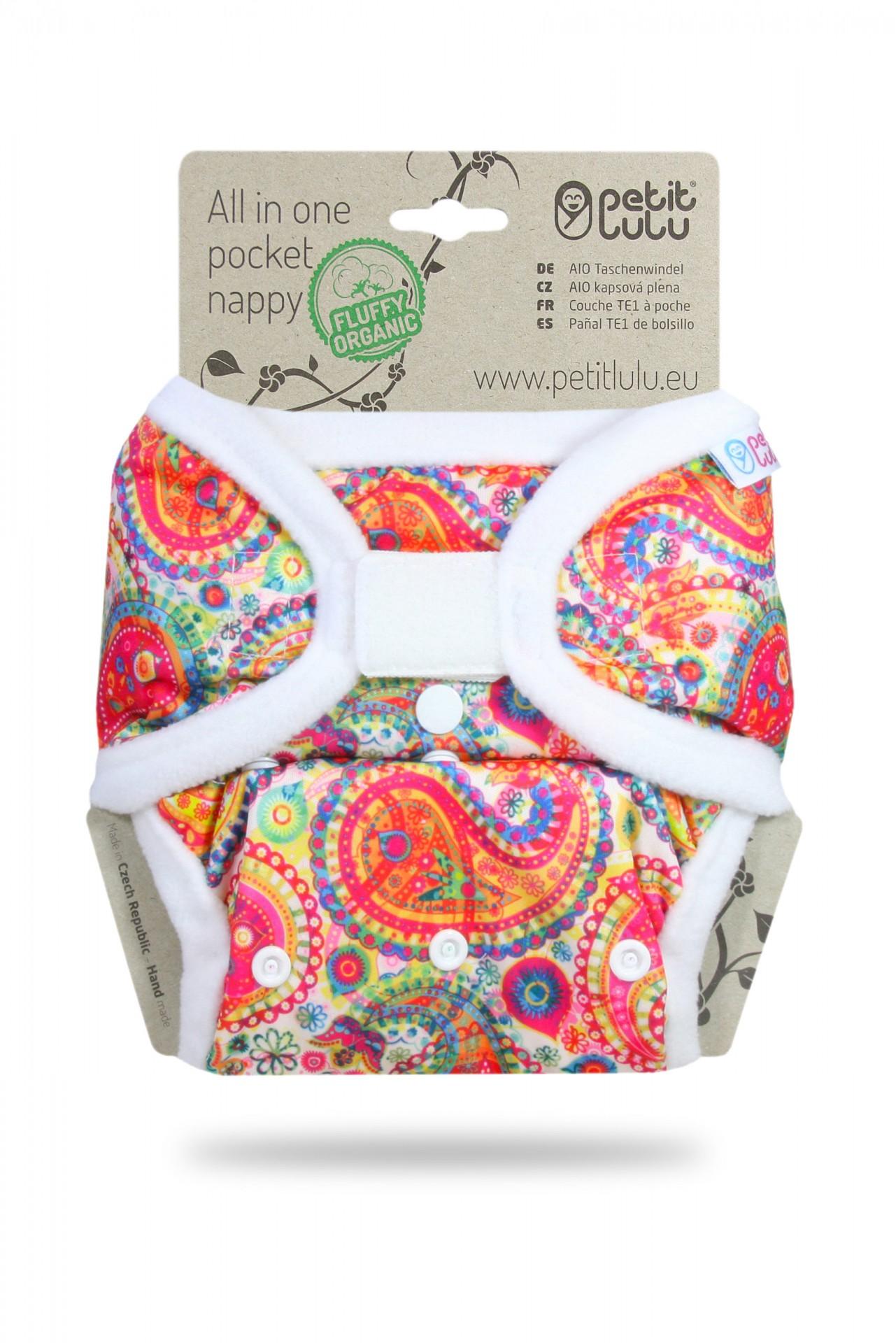 Fralda tudo-em-um com bolso da Petit Lulu Organic (velcro)