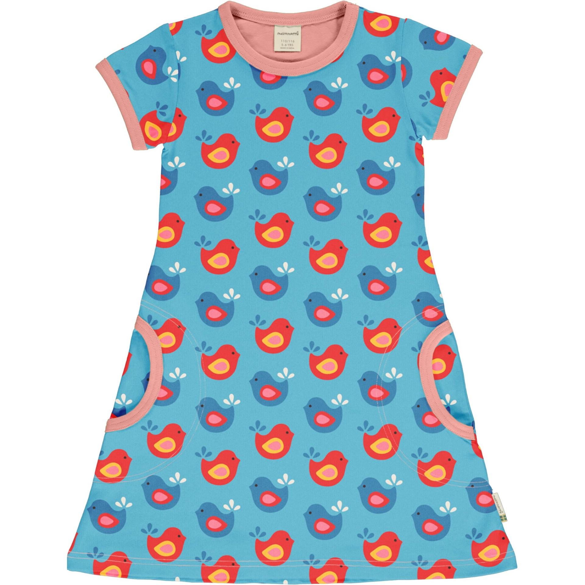 Vestido manga curta Bright birds Maxomorra (Tamanhos disponíveis 18-24m, 3-4a)