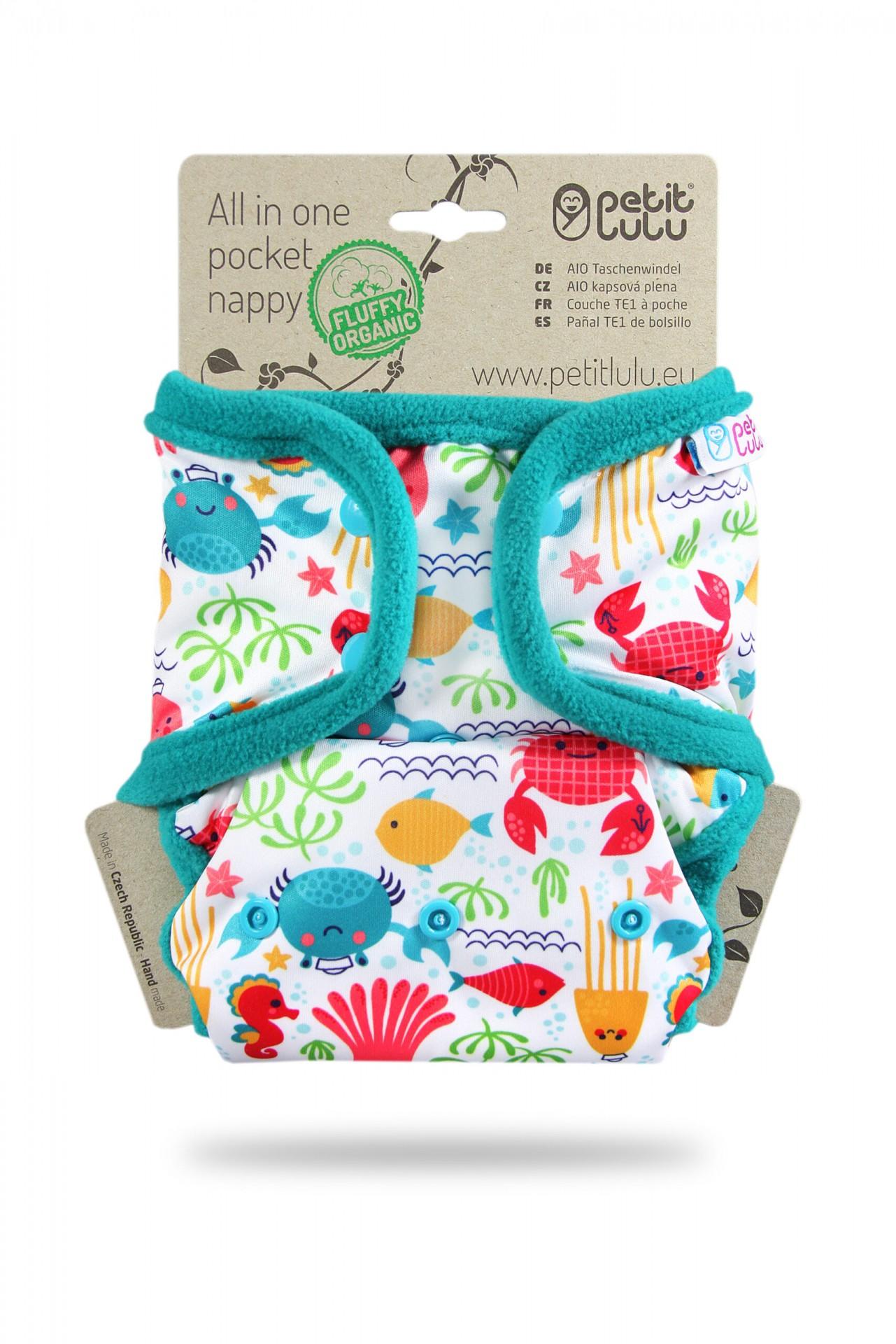 Fralda tudo-em-um com bolso da Petit Lulu Organic (molas)