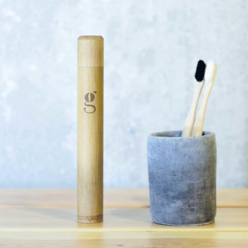 Porta Escova De Dentes de Bambu Grums
