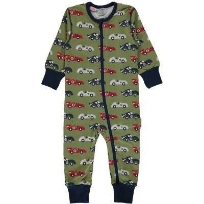 Babygrow com zip RACE CAR Maxomorra (Tamanhos disponíveis 1-3m, 3-6m, e 18-24m)