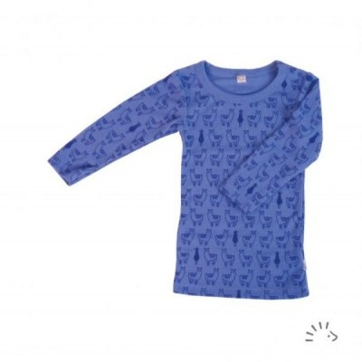 Camisola térmica lã orgânica Lamas Azul