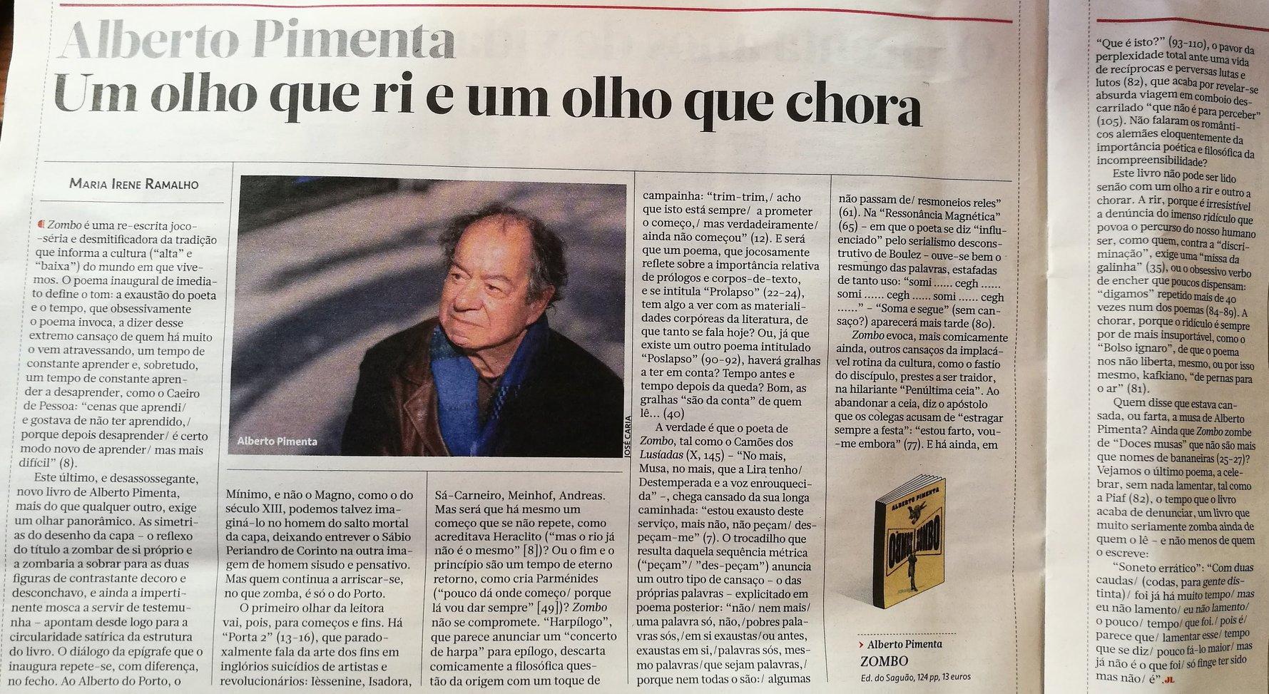«Um olho que ri e um olho que chora» – Maria Irene Ramalho, sobre ZOMBO de Alberto Pimenta