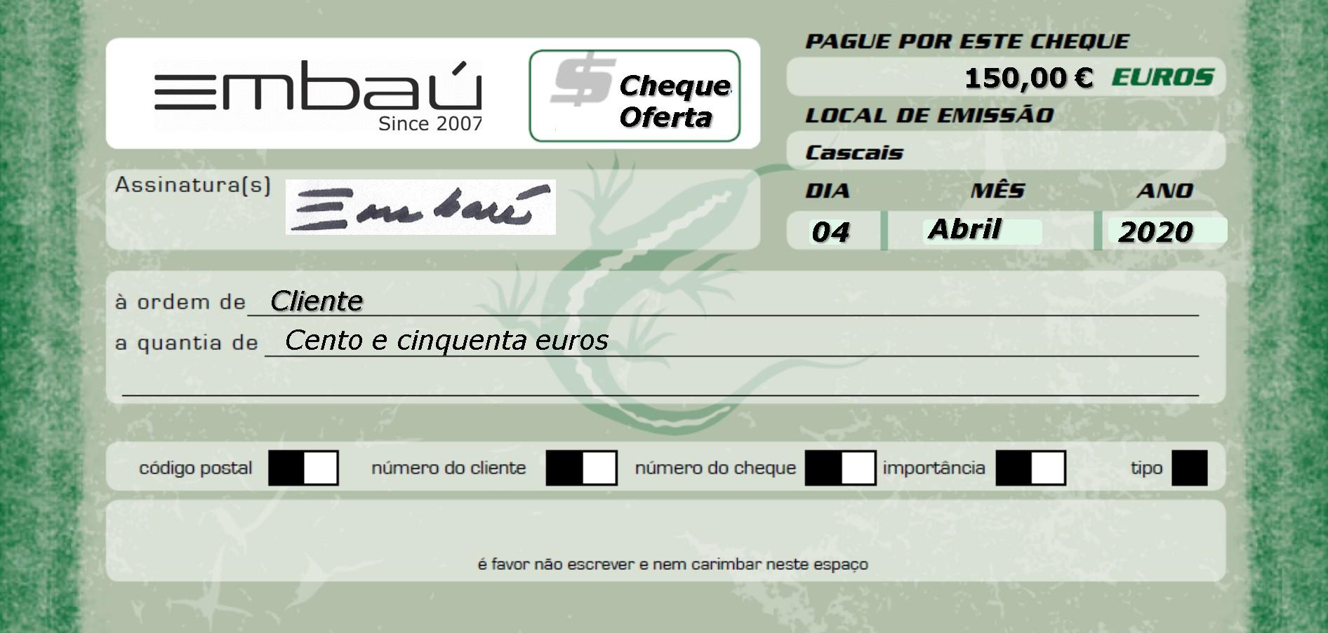 Cheque-Oferta Embaú 150