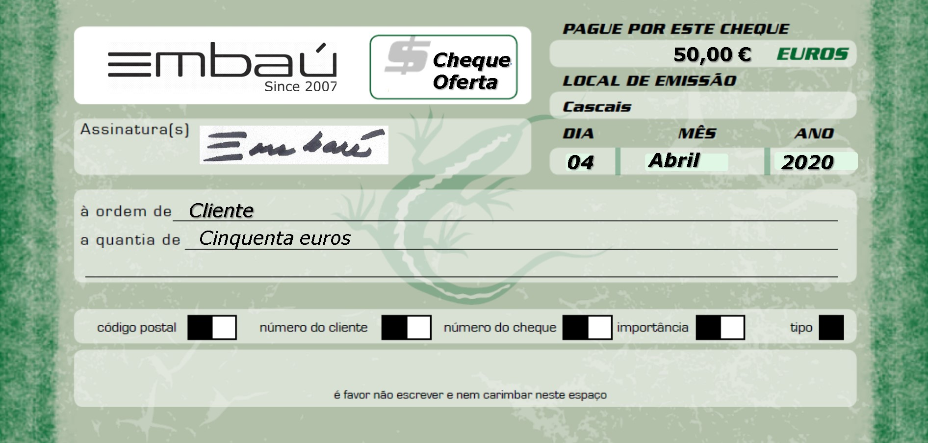 Cheque-Oferta Embaú 50