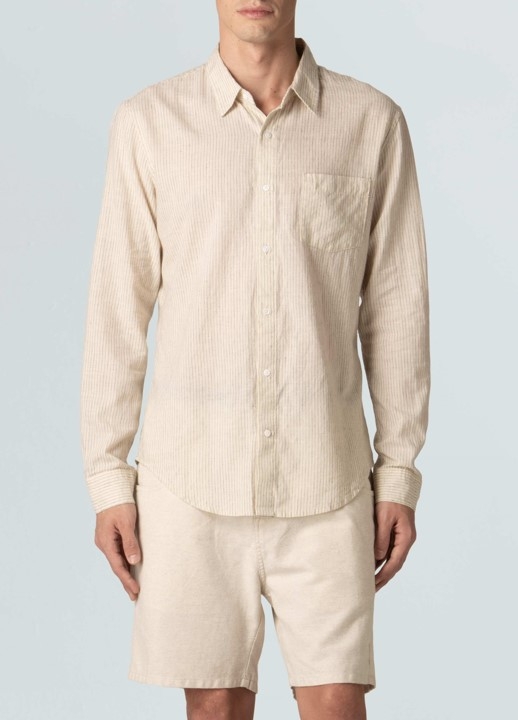 Camisa Osklen Masculina Cotton Linen Pinstripe M