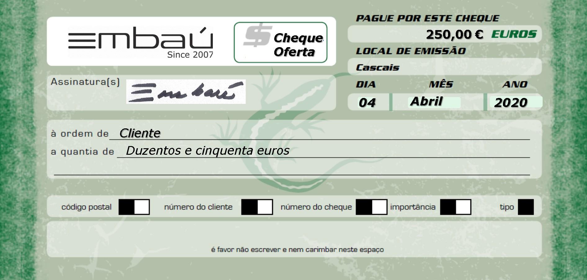 Cheque-Oferta Embaú 250