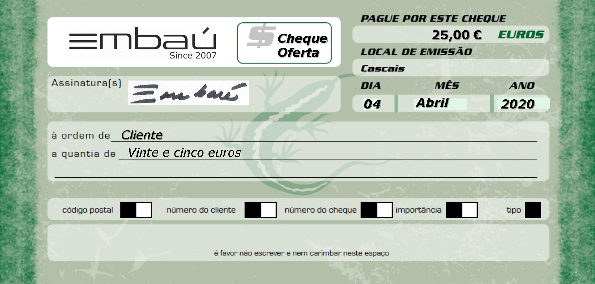 Cheque-Oferta Embaú 25