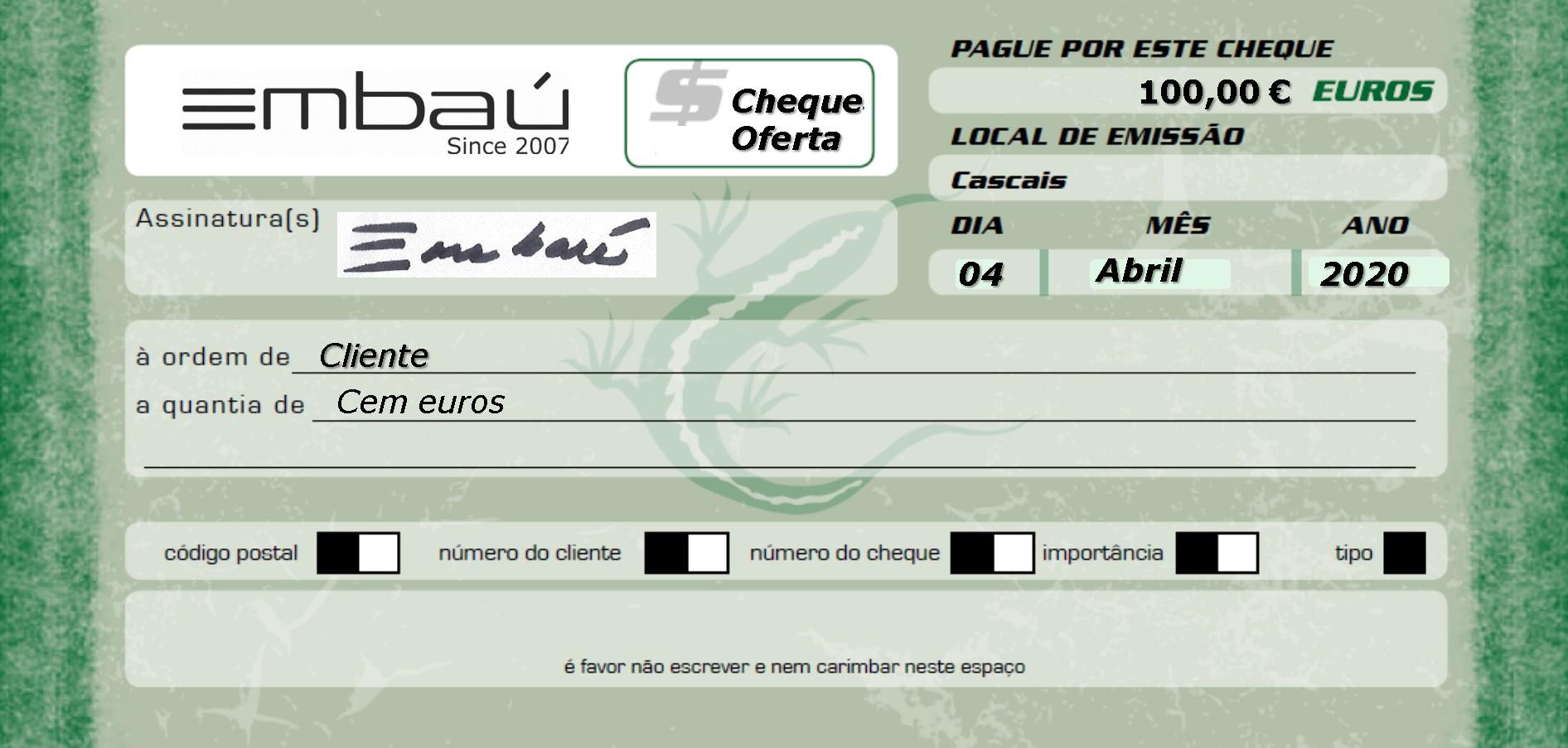 Cheque-Oferta Embaú 100