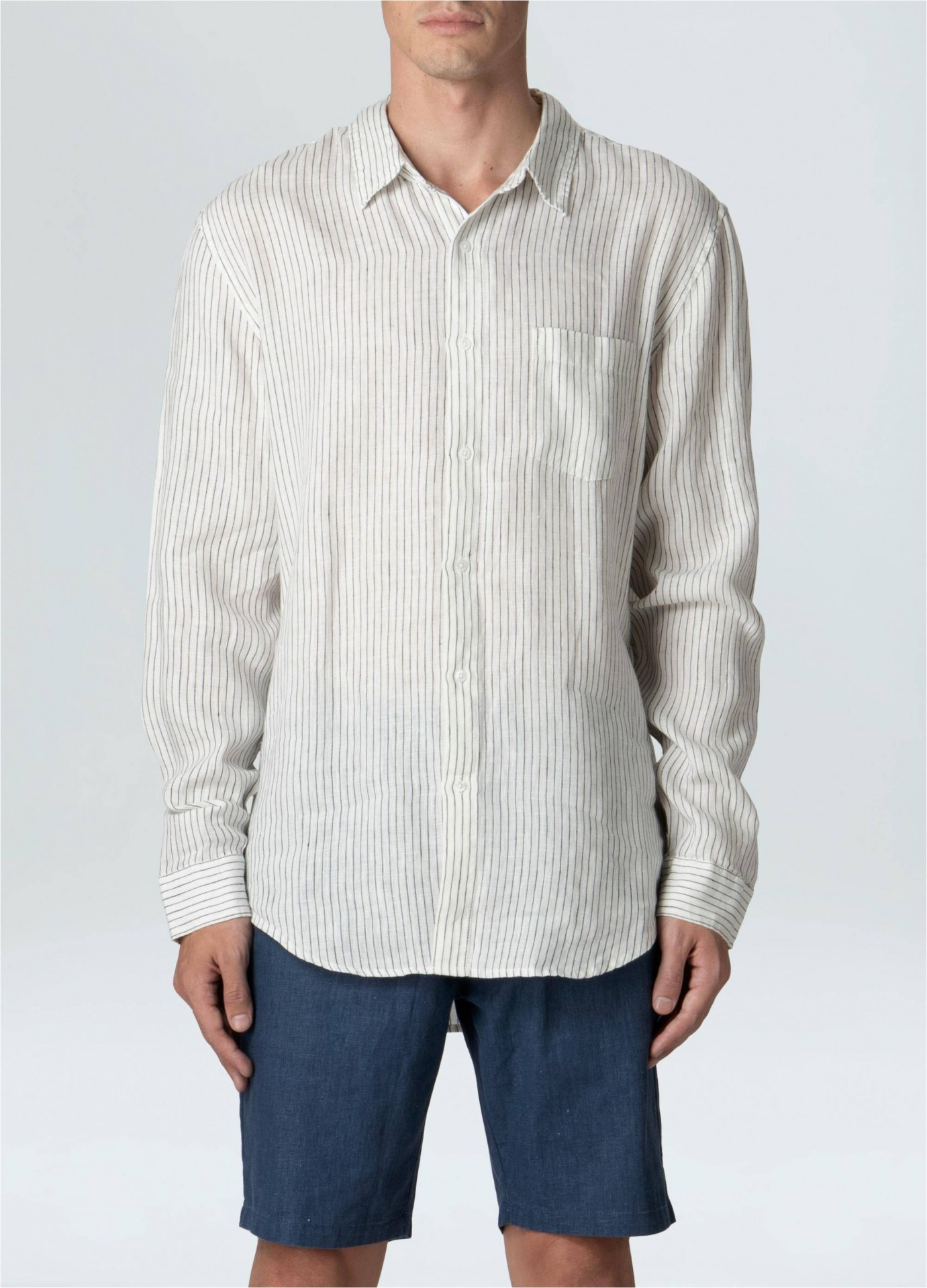 Camisa Masculina Linen Thin Stripes Ml