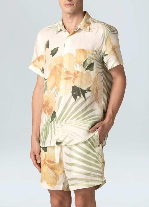 Camisa Masculina Osklen Linen Hibisco Mc