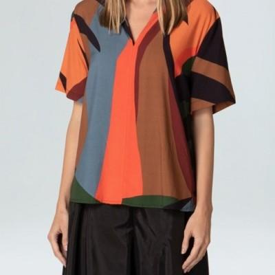 Camisa Feminina V Botões Tropicolor