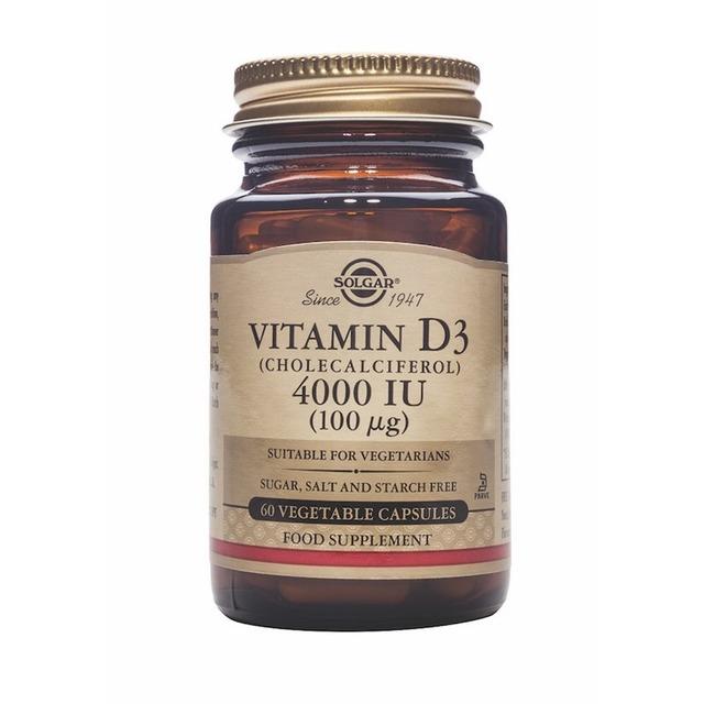 Vitamina D3 (Colecalciferol) 4000 UI 100ug - 60 Cápsulas Solgar