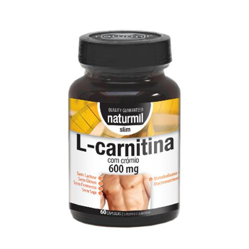 L-Carnitina Strong com Crómio 600mg - 60 Cápsulas Naturmil